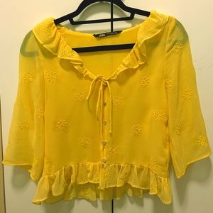 Zara Yellow Flower Embroidered Blouse